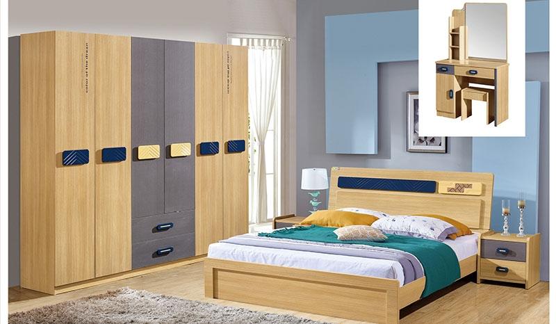 七彩橡木梳妆台、床、六门柜